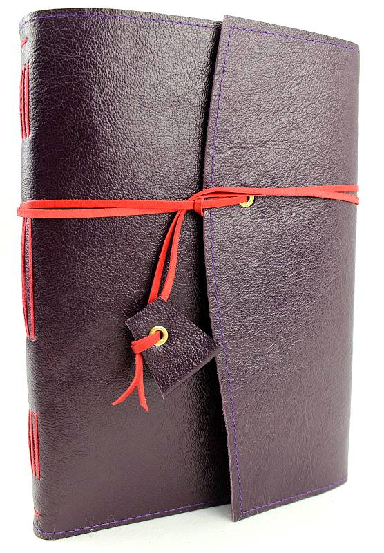Leather Journal Purple & Red